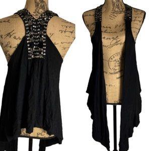 Forever 21 black beaded low high vest cardigan
